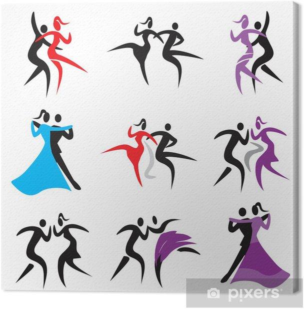 Obraz na płótnie Dancing ikon .__ Zestaw ikon z par tańczących nowoczesną, klasyczną i Disco Dance. Wektor dostępne .__ - Rozrywka