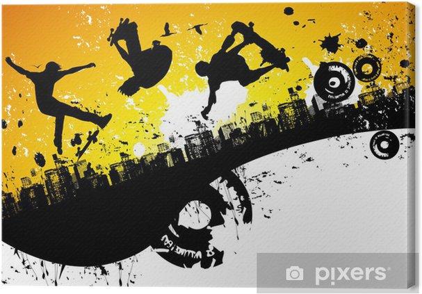 Obraz na płótnie Deskorolka tle miasta - Skateboarding