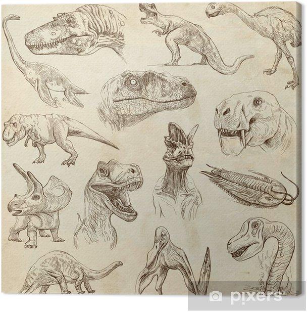Obraz na płótnie Dinozaury no.1 - na starym papierze, ręcznie rysowane zestaw pełnym rozmiarze - Ptaki