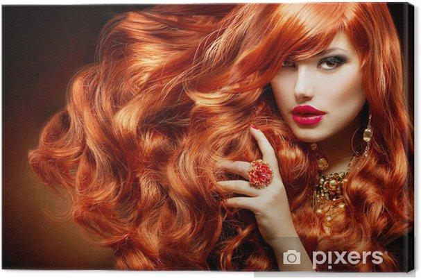 Obraz na płótnie Długie kręcone rude włosy. Portret kobiety mody - Moda