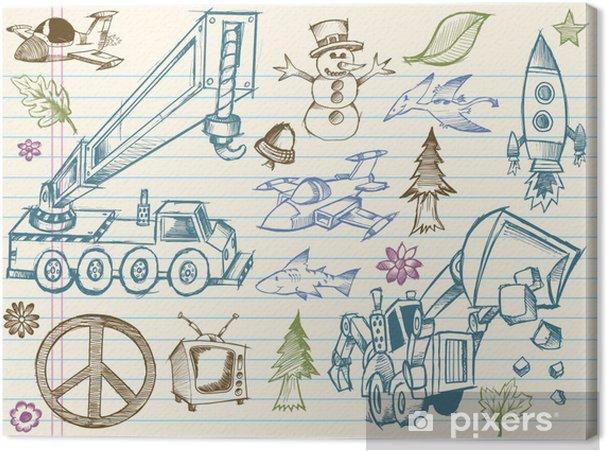 Obraz na płótnie Doodle Vector Scenografia Element Sketch - Transport powietrzny