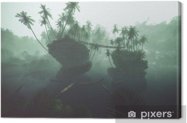 Obraz na płótnie Drewniane kajaki na jeziorze w mglisty dżungli z palmy. Podświetlany. - Natura i dzicz