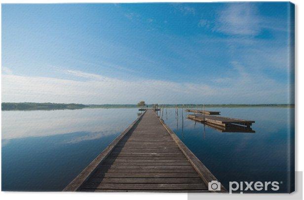 Obraz na płótnie Drewniane molo w jeziorze. wschód słońca na Soustons, Francja - Tematy
