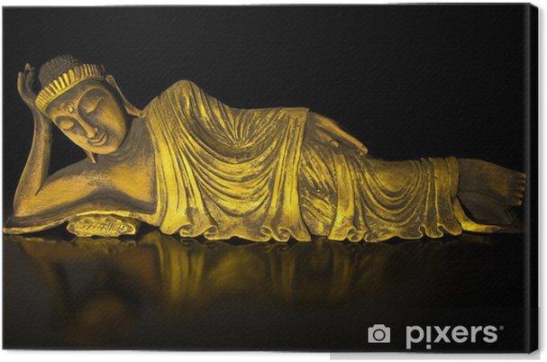 Obraz na płótnie Drewno tekowe leżący budda na czarnym - Tematy