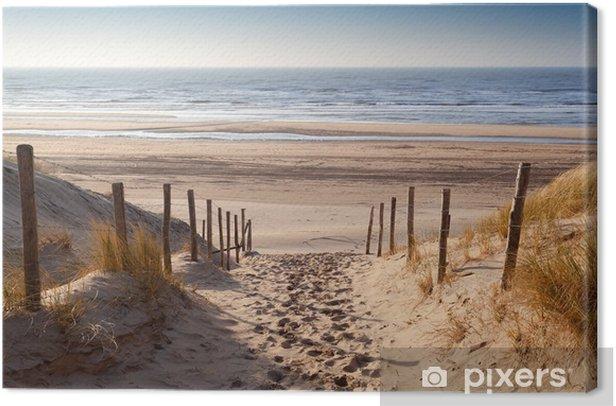 Obraz na płótnie Droga do piasku morza Północnego na zachód słońca - iStaging