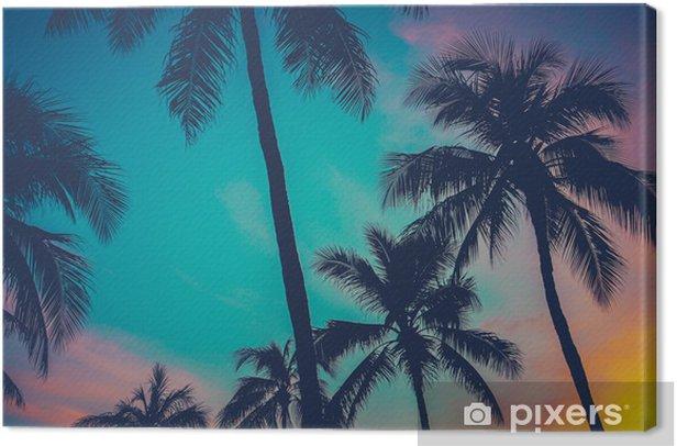 Obraz na płótnie Drzewa Hawaje Palm o zachodzie słońca -