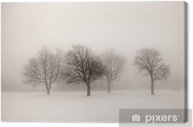 Obraz na płótnie Drzewa w mgle zimowe - Style