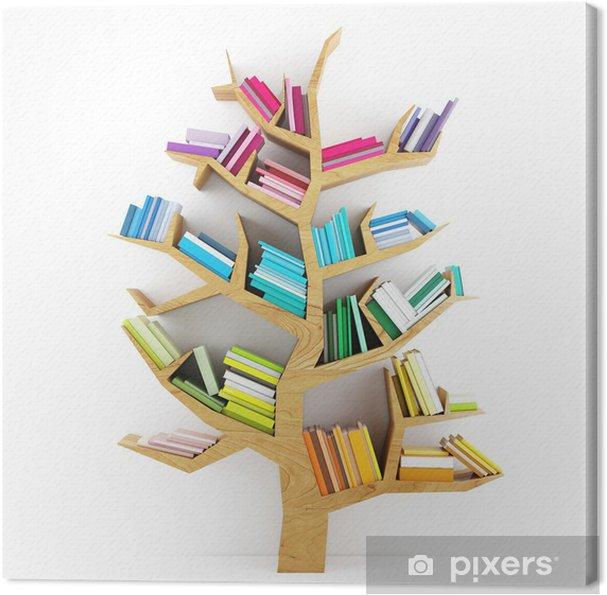 Obraz na płótnie Drzewo poznania, drewniana półka z książkami wielokolorowe izolowane - iStaging