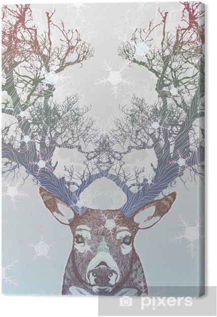 Obraz na płótnie Drzewo rogów jelenia mrożone -