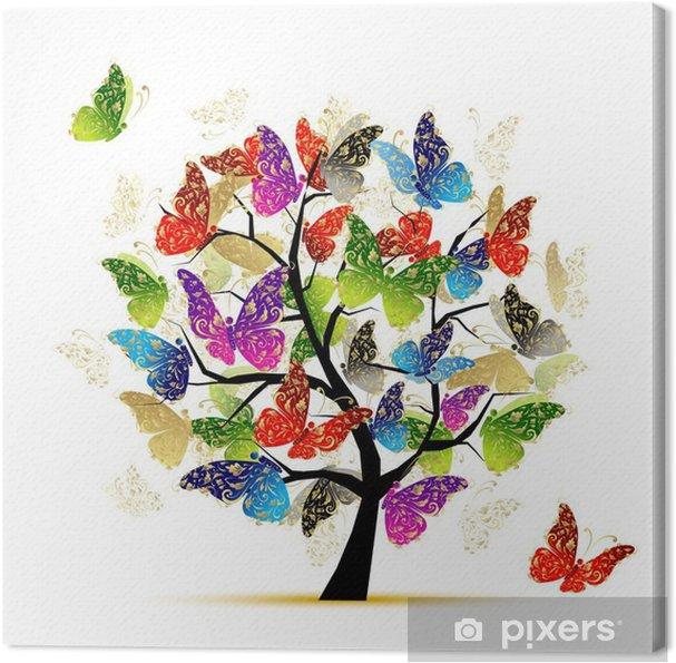Obraz na płótnie Drzewo sztuki z motyli do projektowania - Naklejki na ścianę