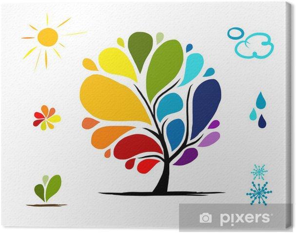 Obraz na płótnie Drzewo tęczy pogodowych znaki dla swojego projektu - Pokój