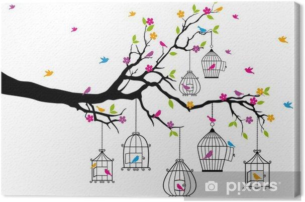 Obraz na płótnie Drzewo z ptaków i klatki dla ptaków, wektor - Tematy