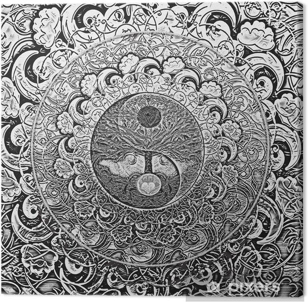 Obraz na płótnie Drzewo życia Srebrnego Mandala - iStaging