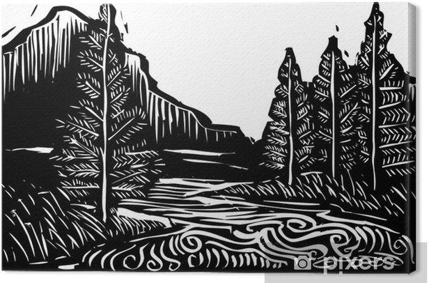 Obraz na płótnie Drzeworyt Landscape - Drzewa