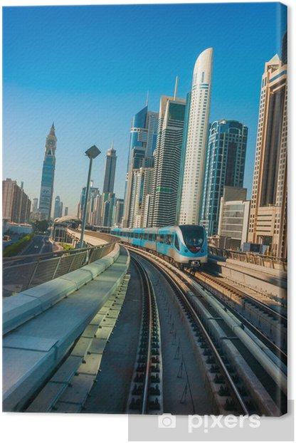 Obraz na płótnie Dubai Metro. Widok na miasto z samochodu metra - Kolej
