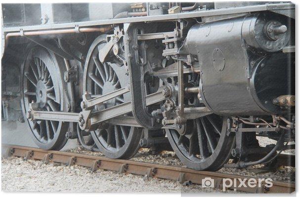 Obraz na płótnie Duże koła o tematyce Vintage pociąg parowy silnik. - Tematy