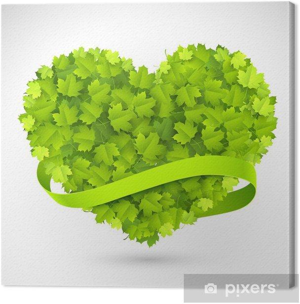 Obraz na płótnie Duże zielone serce - Znaki i symbole