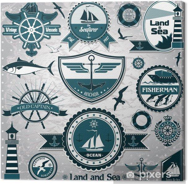 Obraz na płótnie Duży zbiór starych morskich etykiet 2 - Znaki i symbole