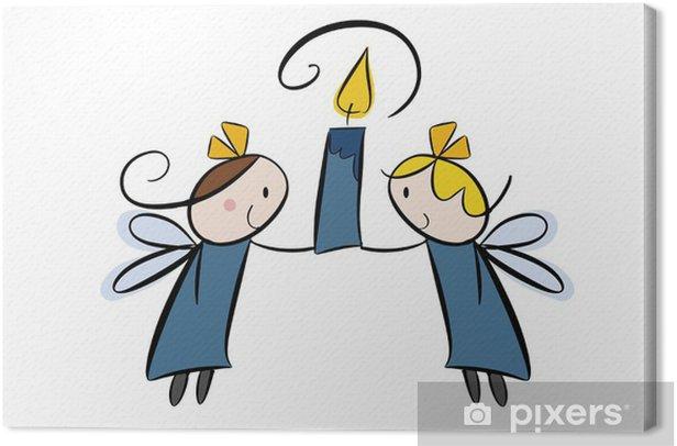 Obraz na płótnie Dwa cartoon anioł ze świeczką - Dzieci