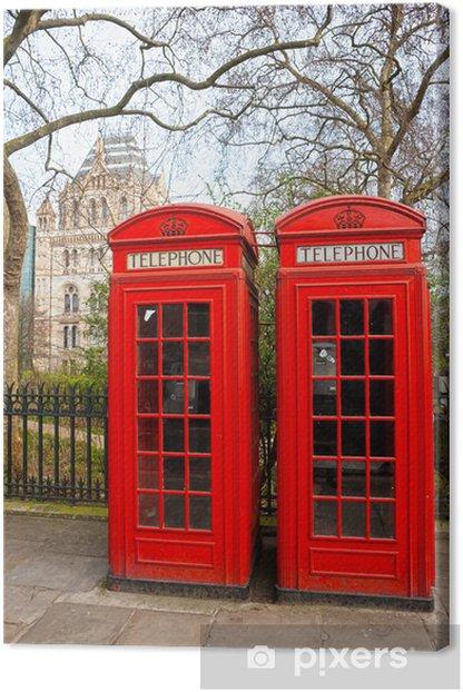 Obraz na płótnie Dwa czerwone pole telefon poza muzeum historii naturalnej. Londyn - Miasta europejskie