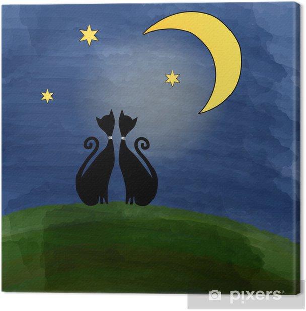 Obraz na płótnie Dwa koty na łące pod księżycem - Ssaki