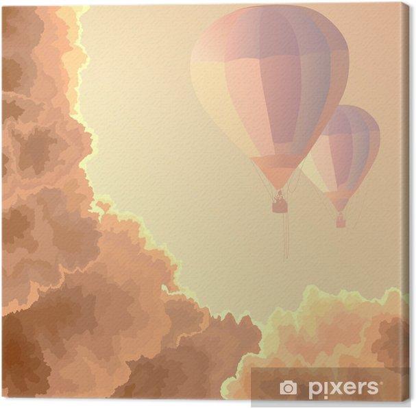 Obraz na płótnie Dwa powietrze balony, niebo i chmury. - Tematy