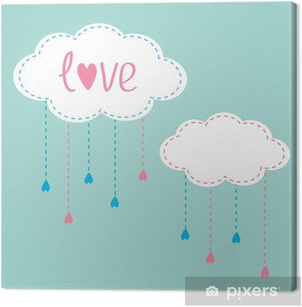 Obraz na płótnie Dwie chmury z wiszące krople deszczu. Karta miłości. - Szczęście
