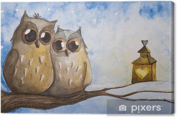 Obraz na płótnie Dwie sowy w zimie - Zwierzęta