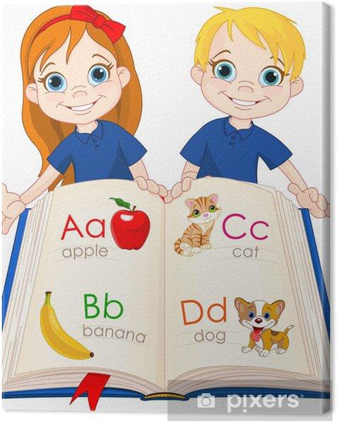 Obraz na płótnie Dwoje dzieci i książki ABC - Naklejki na ścianę