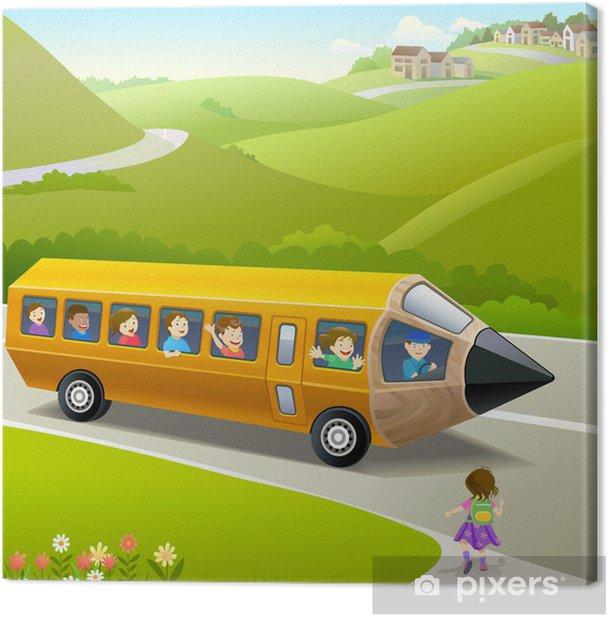 Obraz na płótnie Dzieci chodzi do szkoły autobusem Pencil - Przeznaczenia
