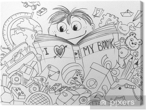 Obraz na płótnie Dziecko, które kocha czytanie wykonane ołówkiem - Sztuka i twórczość