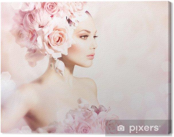 Obraz na płótnie Dziewczyna Beauty Hair Fashion Model z kwiatów. Panna młoda - Moda