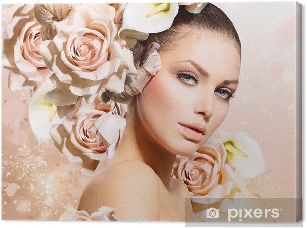 Obraz na płótnie Dziewczyna Beauty Hair Fashion Model z kwiatów. Panna młoda - Tematy