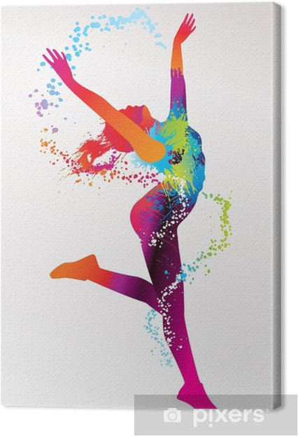 Obraz na płótnie Dziewczyna tańczy z kolorowymi plamami i odpryskami na bac światła -