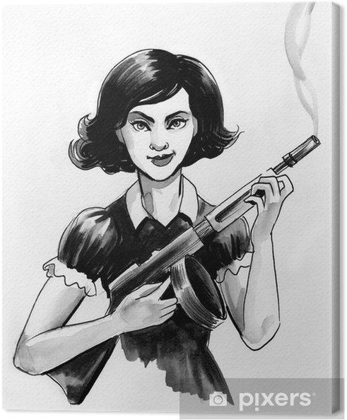 Obraz na płótnie Dziewczyna z pistoletem - Ludzie