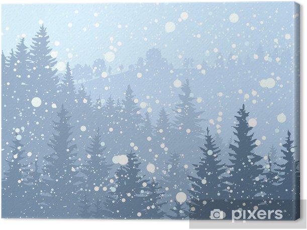 Obraz na płótnie Dziki las iglasty śnieżny. - Tematy