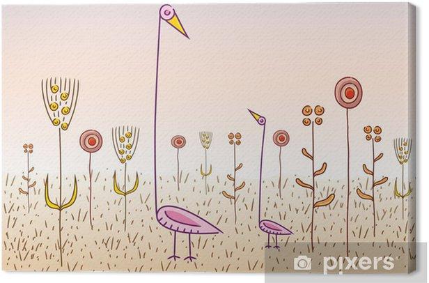 Obraz na płótnie Dziwne ptaki i kwiaty - Fikcyjne zwierzęta