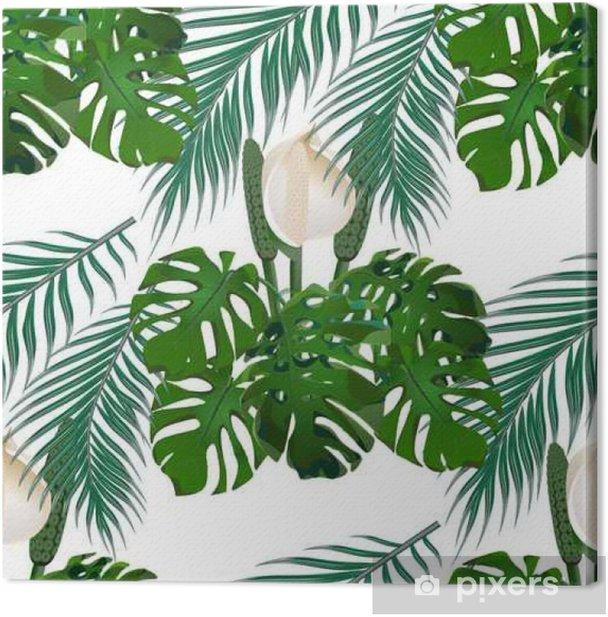 Obraz na płótnie Dżungla. zielony tropikalny liść, kwiaty potwora i liści palmowych. kwiatowy wzór. odizolowywający na białym tle. ilustracja - Budynki i architektura