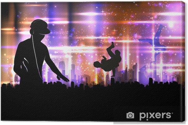 Obraz na płótnie Dźwięk dj impreza na miasta tle ilustracji - Sztuka i twórczość