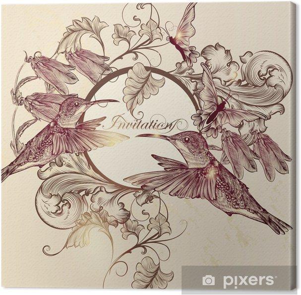 Obraz na płótnie Elegancka karta zaproszenie wektor w stylu vintage - Ptaki