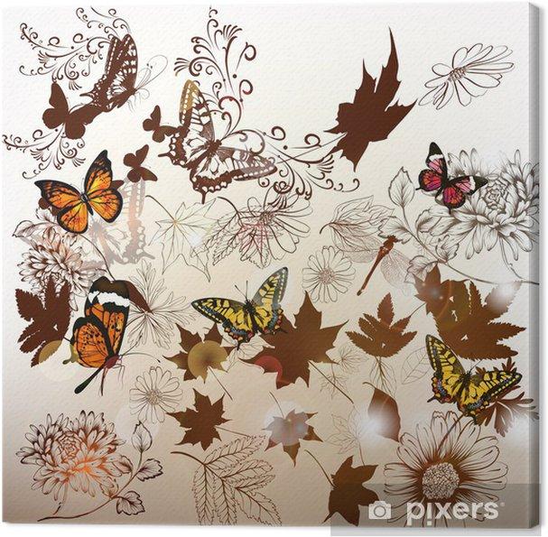 Obraz na płótnie Elegancki tła z kwiatów i liści dla projektu - Rośliny