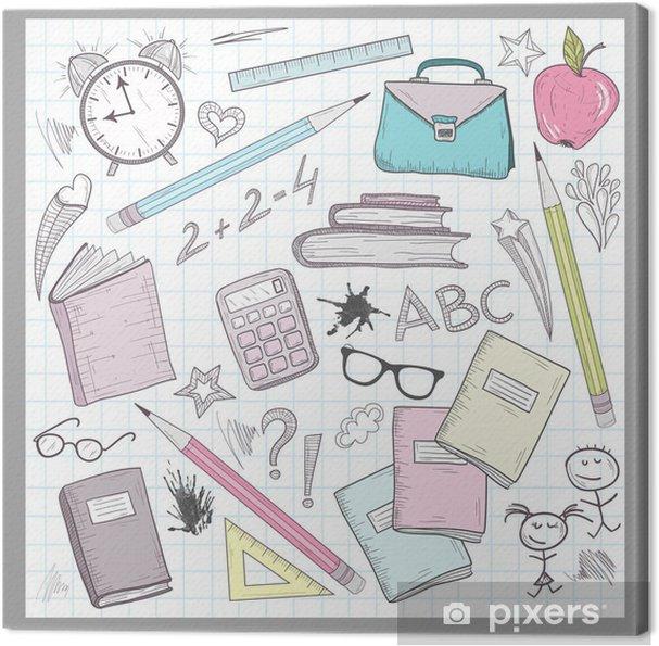 d304aa2c59563 Obraz na płótnie Elementy Przybory szkolne na podszyciem Sketchbook papieru  tła