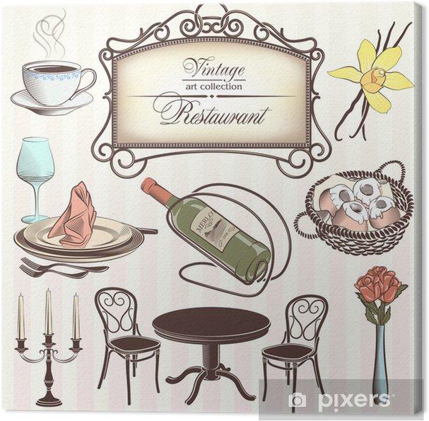 Obraz na płótnie Elementy restauracją w stylu vintage - Znaki i symbole