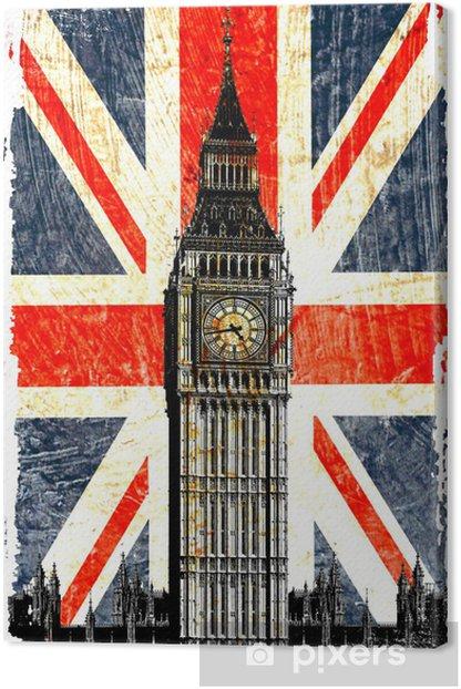 Obraz na płótnie English flag Big Ben w pionie -