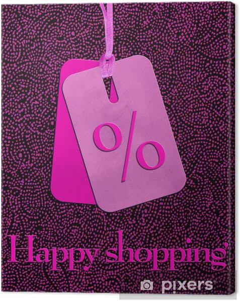 Obraz na płótnie Etykieta szczęśliwego zakupy w kolorze różowym - Moda