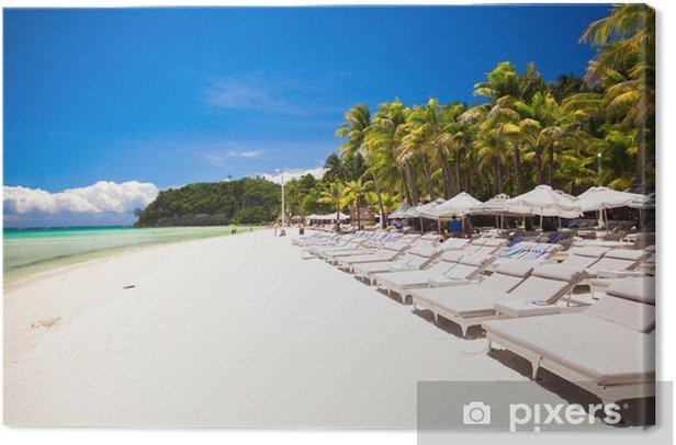 Obraz na płótnie Fantastyczny widok z Nicei tropikalnych pustej plaży z parasolem - Pokój