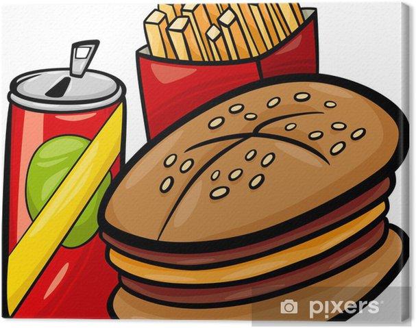 Obraz na płótnie Fast food clipart cartoon - Woda mineralna i napoje gazowane