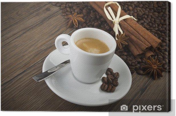 Obraz na płótnie Filiżanka kawy z pałeczek cynamonu i anyżu - Owoce