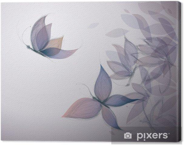 Obraz na płótnie Fioletowe Kwiaty jak motyle / Surreal szkic - Dla przedszkolaka