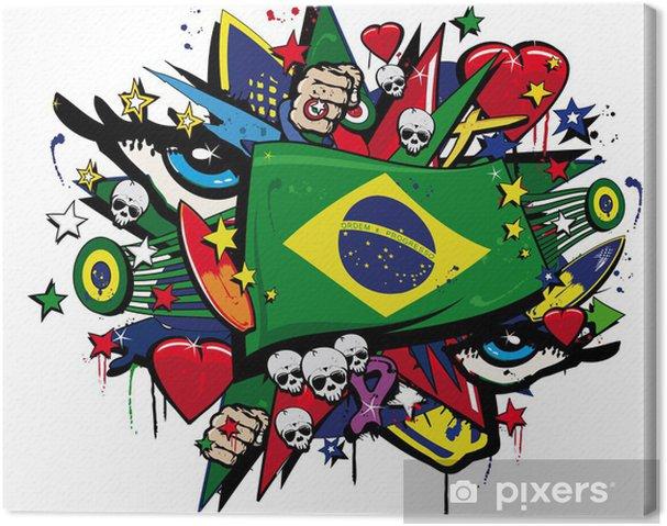 Obraz na płótnie Flaga brazylijskie graffiti, brazylijski karnawał ilustracji pop art - Naklejki na ścianę